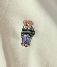 Embroidered Bear Accent Baggy Hoodie