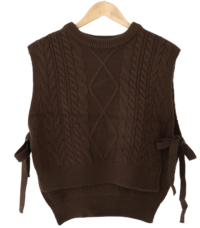 Twisted knit side ribbon vest