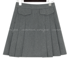 NOBAY TWILL FLAP PLEATS MINI SKIRT