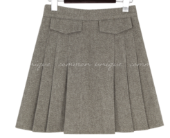 Flap Accent Pleated A-Line Mini Skirt