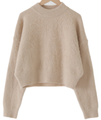 Hairy Half Neck Cropped Wool Knit