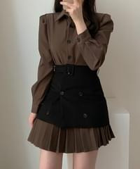 Puffy Shirt Dress + Buckle Skirt Two Piece -one color