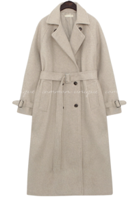 AVER WOOL BELT DOUBLE LONG COAT