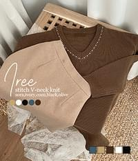 Airy Stitch V-Neck Loose Knit