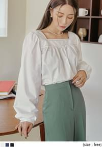 Contrast Stitch Gathered Blouse