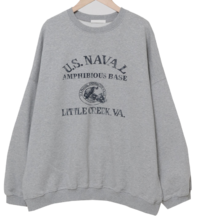 Stamp over fit Fleece-lined Sweatshirt