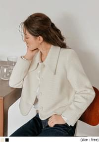 Point Collar Cropped Tweed Jacket