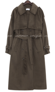 Waist Strap Double-Breasted Trench Coat