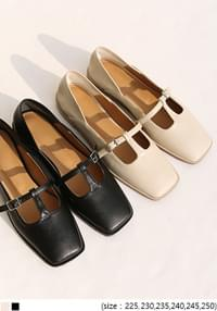 Cutout Accent Square Toe Flat Shoes