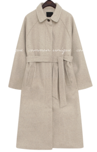 Tie-Waist Strap Raglan Long Coat