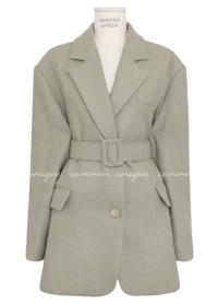 Belted Waist Wool Blend Boxy Jacket