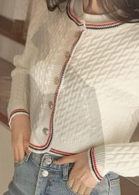 Cropped cable color cardigan