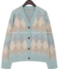 Button-Front Argyle Knit Cardigan WITH CELEBRITY _ Suzy