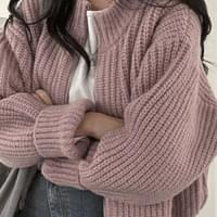 Barbell-knit zip-up cardigan