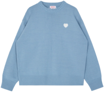 HEART CLUBIvory Contrast Heart Patch Knit Top