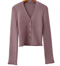 Cropped cardigan Ribbed curling
