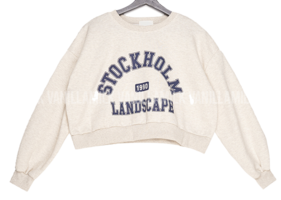 Stock lettering crop Sweatshirt
