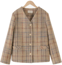 Vintage check no-collar wool jacket