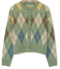 Connie Semi-Crop Argyle Cardigan