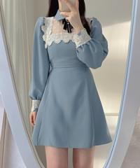 Jerin lace collar dress 2color