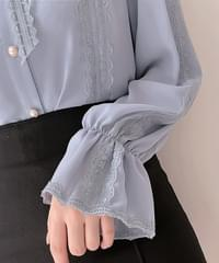 Kelly lace ribbon blouse 3color