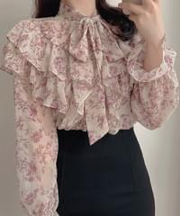 Coco floral frill tie blouse 2color
