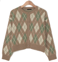 Coil Argyle Pattern Crop Cardigan