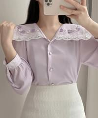 Razel embroidery collar blouse 2color