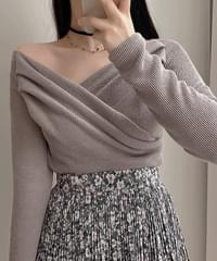 Ash Off Shoulder Shirring Wrap Knitwear 4color