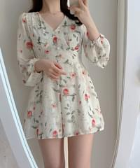 Uni floral wrap jumpsuit Dress 2color
