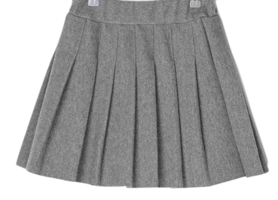Wool pleated banding mini skirt