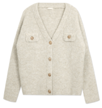 Gold button boucle wool boxy cardigan