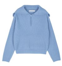 End zip-up knit top