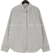 Curved Hem Striped Loose Shirt