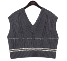 Stripe Accent Cable Knit Vest