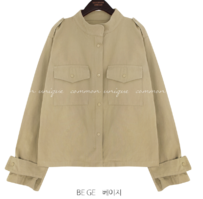 Stand Collar Boxy Utility Jacket