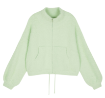Slime fur zip-up jacket