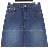 Raw Hem A-Line Denim Mini Skirt