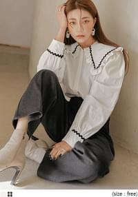 Contrast Trim Puritan Collar Blouse