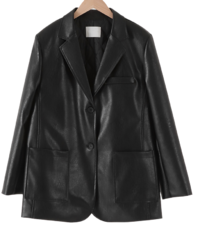Plate leather boxy jacket