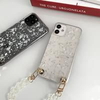 Mother-of-pearl glitter chain strap iPhone case