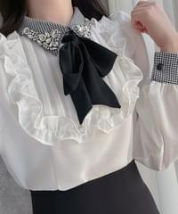 Tiffany collar tie blouse 2color