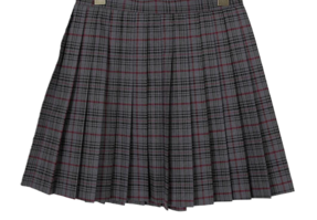 Checked shoe and pleated skirt