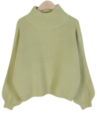 Cotton Cropped Knit ♥ Half Neck + Puff Sleeve Point
