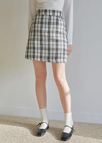 Coming Check Banding Mini Skirt