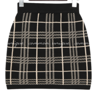 Check Knit H-Line Skirt