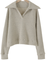 Easy open collar knit