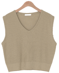 Push V-Neck Ribbed Knitwear Vest