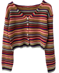Tinker Rainbow Knitting Unique V-Neck Crop Cardigan