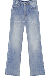 Raw Hem Washed Bootcut Jeans